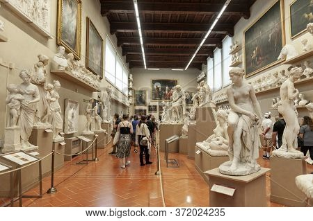 Florence, Italy - October 2019: Plaster Casts By Lorenzo Bartolini Exhibited At The Gipsoteca Bartol