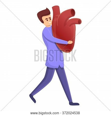 Cardiologist Take Big Heart Icon. Cartoon Of Cardiologist Take Big Heart Vector Icon For Web Design