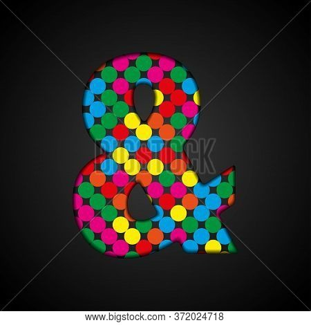 Vector Alphabet Sign Made Color Dots - Ampersand