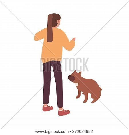 Active Female Pet Owner Training Her Dog Vector Isometric Illustration. Colorful Woman Playing With