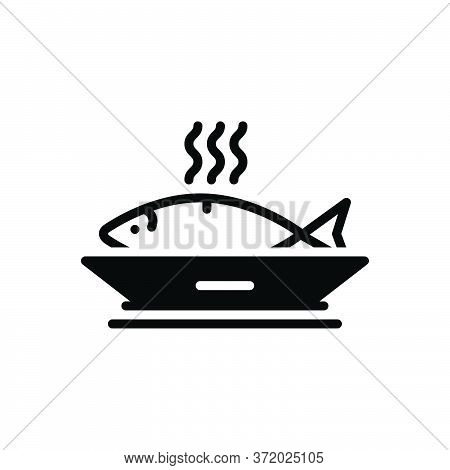Black Solid Icon For Ceviche Fish Food Delicious Healthy Sea-food Dish Seafood