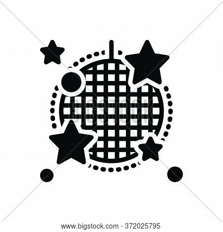 Black Solid Icon For Cabaret Stage Nightclub Sparkling Disco-ball