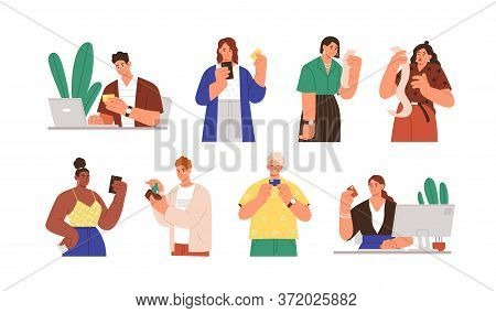 Set Of Diverse People With Payment Receipts And Bank Cards Vector Flat Illustration. Collection Of M