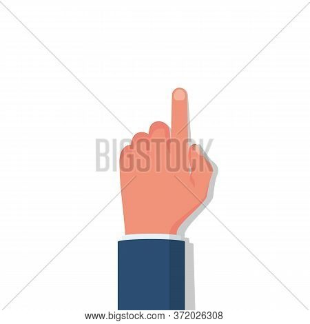 Hand In A Flat Style Touches The Surface. Touch Icon. Index Finger Touches The Monitor, Template For
