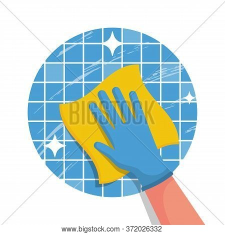 Cleaning Service Flat Logo Icon. Hand In Glove With A Rag. Cleanliness And Shine. Hygiene And Disinf