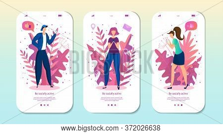 Mobile App Page, Screen Set With People Characters Chatting In Social Media. Vector Illustration For