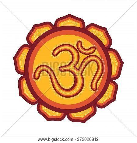 Om A Sacred Mantra And A Symbol Of Hinduism. Vector Art Illustration Mandala.