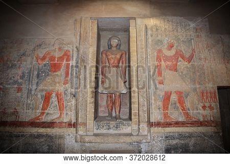 Saqqara / Egypt - 04 Mar 2017: The Ancient Necropolis Of Saqqara, In The Desert Of Egypt
