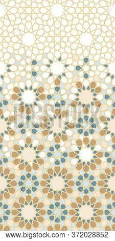 Morocco Arabesque Vector Pattern. Geometric Halftone Morocco Pattern With Color Tile Disintegration.