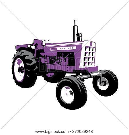 Purple Tractor. Farm Machine. Stock Vector Illustration..retro Machine
