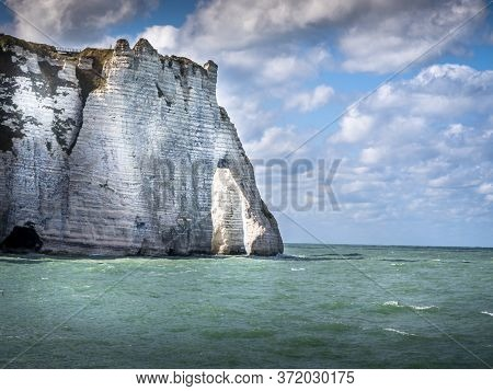 Landscape Of Etretat, Great Place In France To Visit. Wide Angle For A Great View, With Vibrant Colo