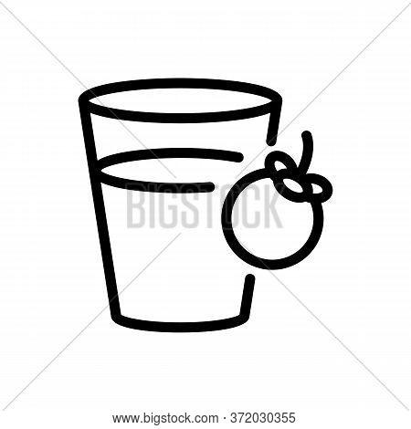 Mangosteen Refresh Drink Cup Icon Vector. Mangosteen Refresh Drink Cup Sign. Isolated Contour Symbol