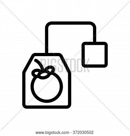 Mangosteen Tea Bag With Label Icon Vector. Mangosteen Tea Bag With Label Sign. Isolated Contour Symb