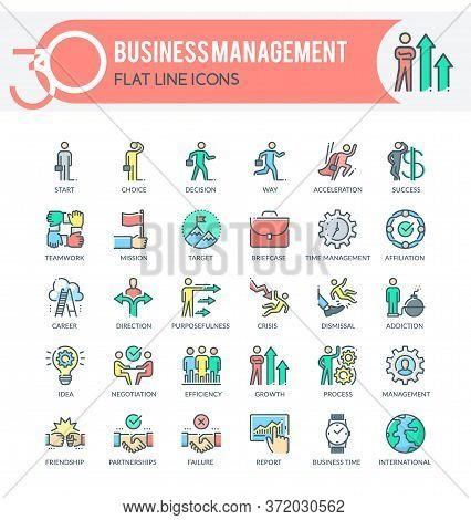 Set Of Filled Outline Multicolor Icons On Following Topics Business, Management, Corporate Developme