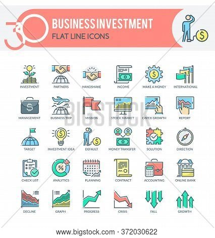 Set Of Filled Outline Multicolor Icons On Following Topics Business, Investment, Financial Managemen