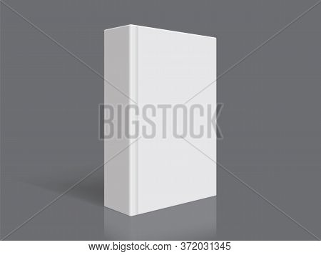 White Book With Thick Cover Isolated On Black Background Mock Up Vector