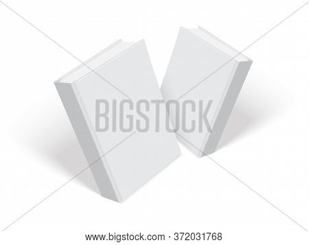 White Books With Thick Cover Isolated On White Background Mock Up Vector