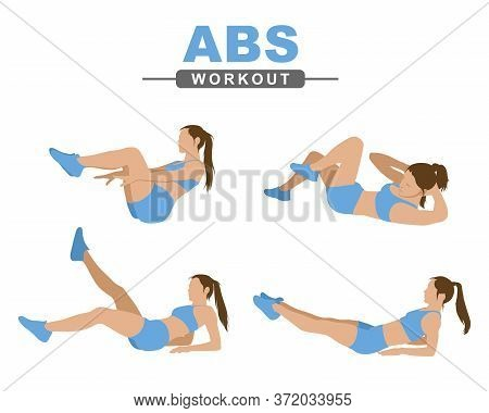 Abs Workout. A Young Woman Performs A Abs Exercise. Fitness, Active Lifestyle. Isolated On A White B