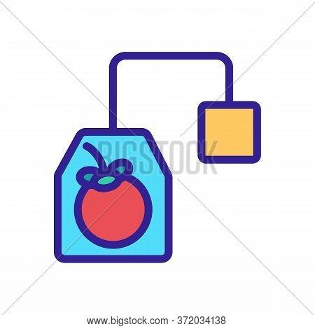 Mangosteen Tea Bag With Label Icon Vector. Mangosteen Tea Bag With Label Sign. Color Symbol Illustra