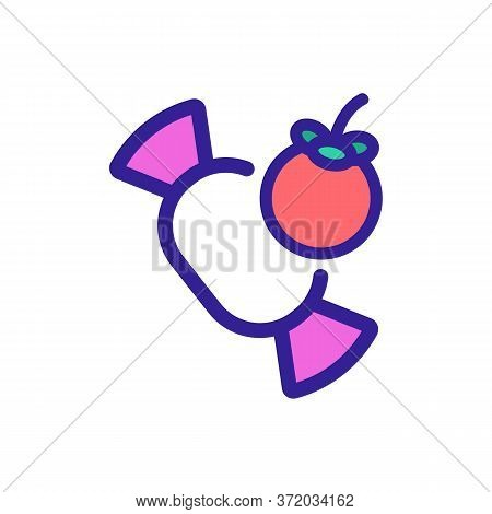 Mangosteen Candy Icon Vector. Mangosteen Candy Sign. Color Symbol Illustration