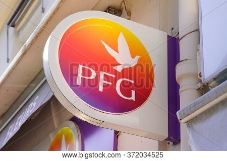 Bordeaux , Aquitaine / France - 06 14 2020 : Pfg Logo Sign Of Pompes Funebres Generales French Agenc
