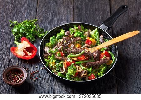 Healthy Dinner: Beef Fajitas With Vegetables: Broccoli, Green Bean,  Yellow And Red Sweet Peppers, P