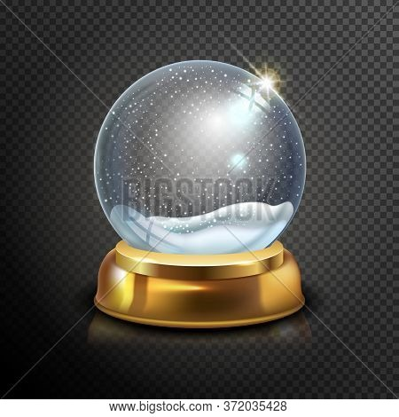 Realistic Christmas Glass Snow Globe Isolated On Transparent Background. Vector Illustration. Winter