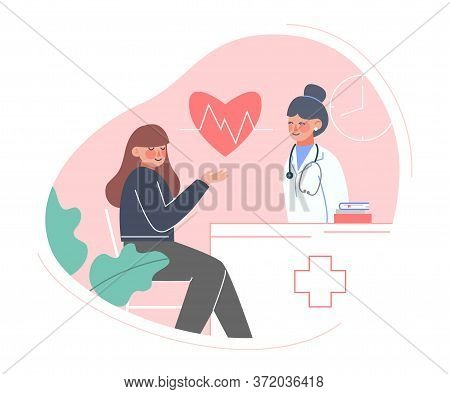 Doctor Taking Care Of Patient, Medical Exam, Check Up Or Consultation Flat Style Vector Illustration