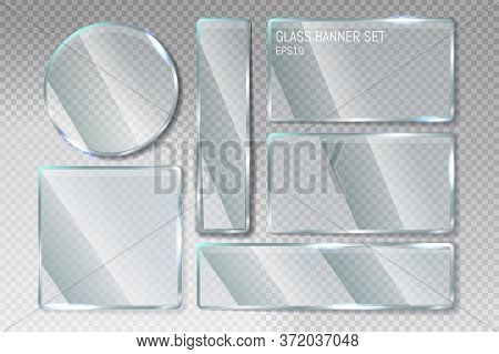 Vector Trendy Transparent Glass Banner Shape Plates Set With A Place For Inscriptions In Transparent