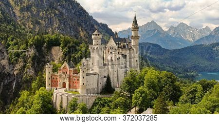 Famous Neuschwanstein Castle In Bavaria Germany - Aerial Photography