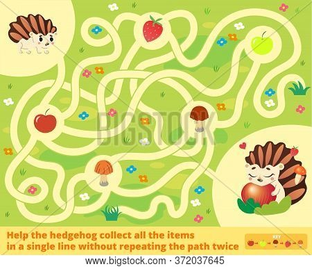 Help The Hedgehog Collect All The Items In A Single Line Without Repeating The Path Twice. Color Maz