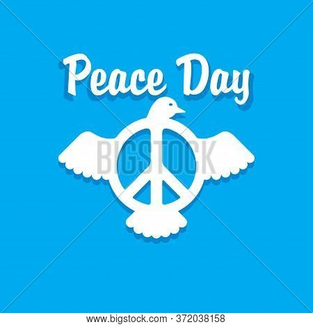 Peace Day Card - Logo With Peace Sign (pacific Emblem) And Flying White Dove (pigeon) Inside - Vecto