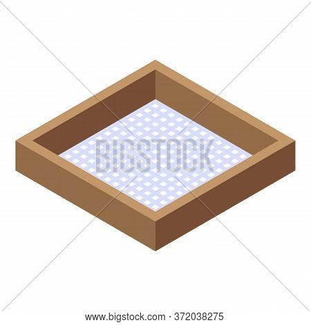 Wood Frame Sieve Icon. Isometric Of Wood Frame Sieve Vector Icon For Web Design Isolated On White Ba