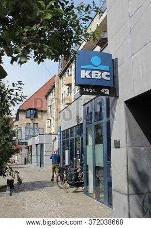 Aalst, Belgium, 12 June 2020: Exterior View Of A High Street Branch Of The Kbc Bank In Belgium. Kbc