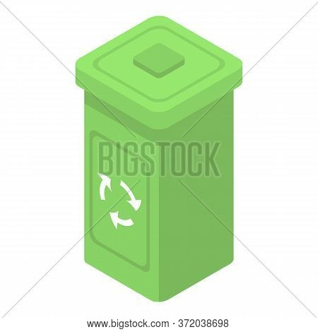 Plastic Recycle Bin Icon. Isometric Of Plastic Recycle Bin Vector Icon For Web Design Isolated On Wh