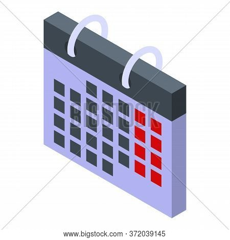Foreign Language Calendar Icon. Isometric Of Foreign Language Calendar Vector Icon For Web Design Is