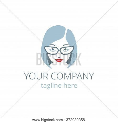 Call Center Virtual Assistant Logo Template - Online Support Icon With Beautiful Woman Face