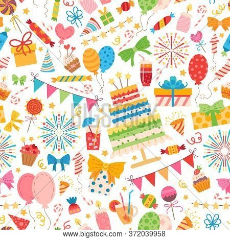 Kids Party Elements Pattern. For Birthday Party