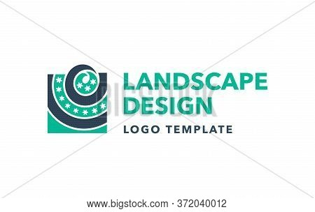 Landscape Design Or Gardening Logo Template - Lawn And Flowerbed Top View In Modern Emblem Style - I