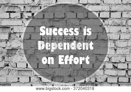 Success Is Dependent On Effort Written On A Brick Wall