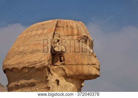 Great Sphinx And Pyramids Of Ancient Egypt In Giza, Cairo