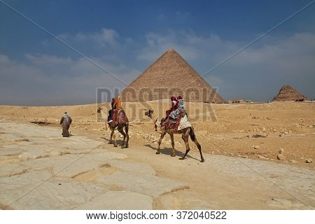 Cairo / Egypt - 06 Mar 2017. The People Close Great Pyramids In Giza, Cairo, Egypt