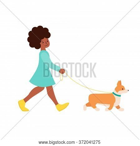 Happy African-american Woman Walking With Dog Corgi. Cute Illustration For Creating A Romantic Mood.