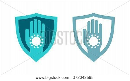 Immunity Icon - Health Protection Immune System Emblem  - Safety Shield With Hand Stopping Virus Or