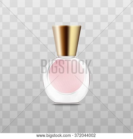 Little Round Perfume Bottle With Pink Fragrance Liquid And Triangle Shape Golden Cap