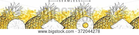 Pineapple Or Ananas Horizontal Seamless Pattern Sketch Vector Illustration Isolated.