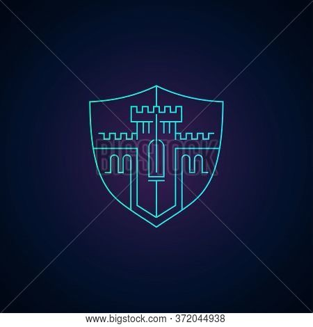 Home Protection Or Data Security Logo Template - Outline Modern Emblem With Castle Stronghold Tower
