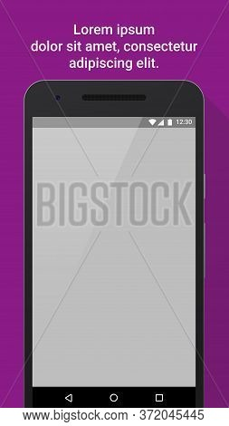 Screen App Mock-up For Store And Market. Mobile Phone With Blank Screen On Colored Background With L