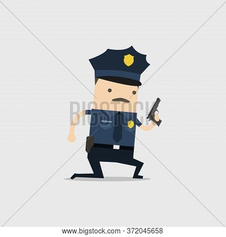The Police Officer Kneels On The Floor And Holding A Gun.
