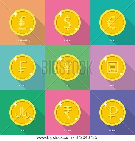 World Currency Icons: Dollar, Euro, Yen, Yuan, Euro, Indian Rupee, Russian Ruble, Franc, Pound Sterl